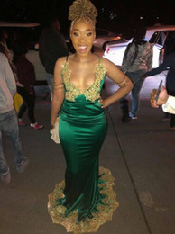 Gold Charm Sexy Girl Australia - 2019 Charming Green Prom Dresses With Gold Lace Applique Sexy Formal Party Gowns Long Satin Black Girl Dress Formal Evening