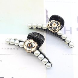 lucite flower hair accessories Australia - Vouge Black White Enamel Camellia Flower Hair Clamps Pearl Hair Claw Black Acrylic Hair-Clips Women Hair Jewelry Accessories