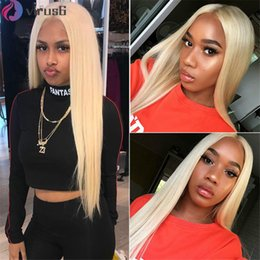 full lace wig 24 613 UK - Brazilian Straight Lace Front Human Hair Wigs 613 Blonde Full Lace Wig Human Hair Free Shipping