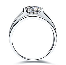 Platinum Plated Wedding Ring Sets Australia - Free Shipping Classic 1.0CT SONA Synthetic Diamond Rings For Men PT950 Stamp 925 Sterling Silver Ring In Platinum Plated Wedding Ring Male