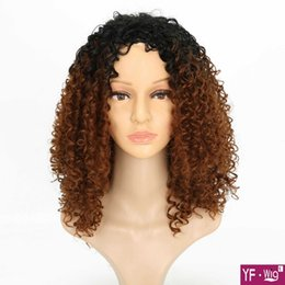 Discount short kinky curly wigs - Cheap Wigs Short wig Brown Kinky Curly Wig Synthetic Wig African American Wigs for European and America Woman Free shipp