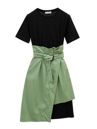 $enCountryForm.capitalKeyWord UK - Women's 2Pcs Asymmetrical Aline Skirt Solid Color T Shirt Dress