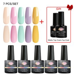 browning nail art UK - MEET ACROSS Summer Gel Nail Polish Set Fresh Color Soak off UV Nail Art Manicure Primer Nails Gel Polish Varnish Kit