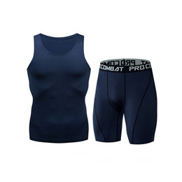 Summer Sportswear Suit Australia - Summer Tracksuit Men quick dry Shorts Casual Men's Sportswear Suit Shorts Clothing Two Pieces Sleeveless Top+Shorts gym set