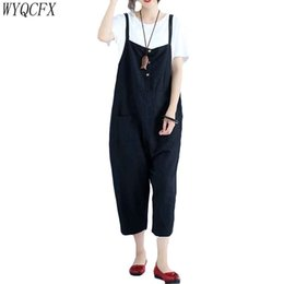 Harem Jumpsuits Women Australia - Casual Oversized Women Harem Loose Black Sleeveless Jumpsuits 2019 Vintage spring summer Sling pants female Casual Rompers W122