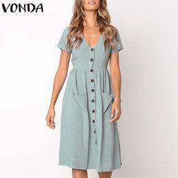 $enCountryForm.capitalKeyWord NZ - Vonda Women Knee-length Dresses 2019 Summer Pregnant Vintage Sexy V Neck Short Sleeve Casual Maternity Buttons Plus Size Vestido J190518