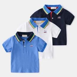 Boys Polo Tops Australia - 2019 Summer Enfant Boys T-shirt Children Cotton Embroidery cartoon Shirt Color stripe lapel Tops Kids Baby Short Sleeve polo T-Shirt