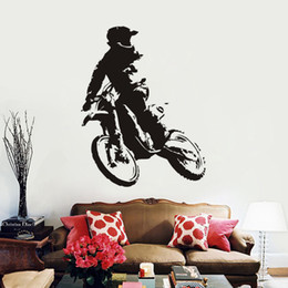 Simple Wallpapers UK - Simple Creative Pull Wind Cold Rider Motorcycle Pattern Wall Stickers Foreign Trade Decorative Supplies Wallpaper Wholesale