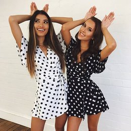 $enCountryForm.capitalKeyWord Australia - Girlfriends Sexy polka dot Playsuits Women Jumpsuits V Neck rompers womens playsuit 2019 Beach Party Casual belt Lace Up romper