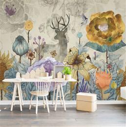 $enCountryForm.capitalKeyWord Australia - Custom vintage flowers and elk deer design wall mural on the wall for meeting room living room sofa background wall paper mural