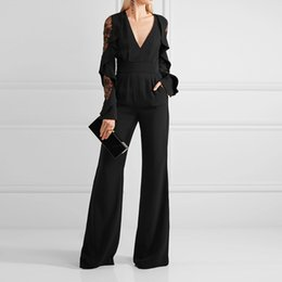 Elegant Jumpsuits Sleeves Australia - 2019 Elegant Black chiffon mother of the bride dresses custom long sleeves jumpsuit lace mother's dress v neck women evening prom gowns