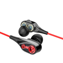 Speaker Ear Australia - Cheap high quality Double speaker wired earphone ear 3.5mm super bass with microphone ln-ear earphone headphone for iPhone for Android