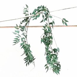 $enCountryForm.capitalKeyWord Australia - Simulation Flower Vine Wedding Celebration Willow Leaf Green Color Sliver Wall Hanging Romantic Rattan Party Decoration New Arriaval 16hzE1