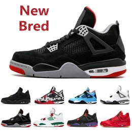 Wholesale Newest s IV New Bred Mens Basketball Shoes Tattoo Singles Day Lightning Black Gum Fire Red Outdoor Trainers Athletic Sports Sneakers