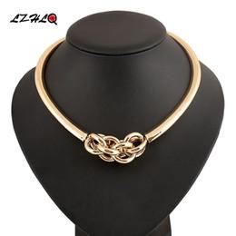 Discount necklaces pendants statement brand jewelry - LZHLQ Brand Maxi Punk Metal Choker Necklace Geometric Twist Pendant Necklace Round Splice Torques Women Alloy Jewelry St