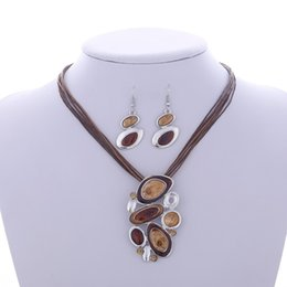 $enCountryForm.capitalKeyWord Australia - Boho Enamel Delicate Jewelry Sets Multi Layers Leather Silver Plated Pendant Geometry Choker Necklace Earrings Sets Wedding gift