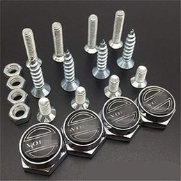 Auto License Plate Bolts Australia - Auto Logo Chrome Metal Anti-Theft Car License Plate Bolts Frame Screws A Pack of 4 for Volvo