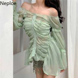Discount long sleeve tube tops - Nepleo Chiffon Women Blouses Summer 2019 Sexy Slash Neck Lantern Sleeve Blusa Korean Ladies Shirts+tube Top 44771 SH1908