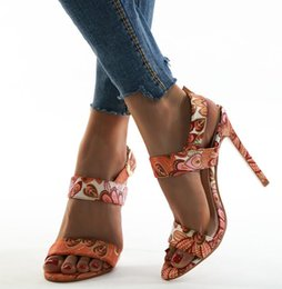 orange flower sandals NZ - Plus Size 35 To 42 Sexy Women Phoenix Orange Flower Printed High Heels Sandals Designer Shoes Come With Box