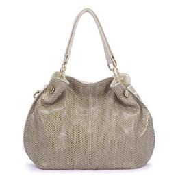 $enCountryForm.capitalKeyWord Australia - Ladies Bags 2019 Fashion Serpentine Shoulder Bag Split Leather Luxury Tote Bag Large Capacity Office Lady Handbag Black Brown