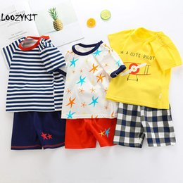 Wholesale Loozykit Children s Summer Clothes Cotton Short Sleeve Boys Clothes Baby Girls Body Suit Cartoon Kids Set