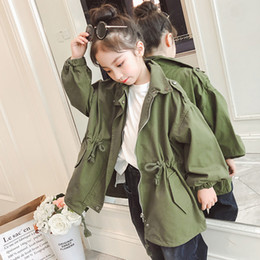 $enCountryForm.capitalKeyWord Australia - Teenage Girls Tops Clothes Green White Loose Trench Coats Kids Girls Long Sleeve Cotton Autumn Solid Jackets Children Outerwears