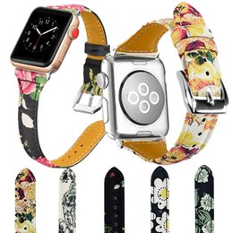 $enCountryForm.capitalKeyWord Australia - fashion pastoral flower printing real leather watchbands for apple watches 38mm 42mm series 1 2 3 button sport iwatch strap band
