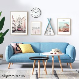 $enCountryForm.capitalKeyWord Australia - Nordic Poster Landscape Painting Pink Vintage Poster And Prints Bus Wall Art Living Room Decoration Canvas Painting Unframed