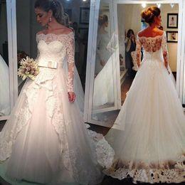 $enCountryForm.capitalKeyWord Australia - 2019 Graceful White Ball Gown Wedding Dresses Lace Applique Sequins Beads Bateau Off Shoulder Sexy Saudi Arabia Bridal Gowns Wedding Dress