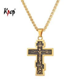 Discount inri crucifix pendant - Kpop Cross Necklace Orthodox Church Christian Jewelry Stainless Steel Gold Color INRI Crucifix Cross Pendant Necklace Me