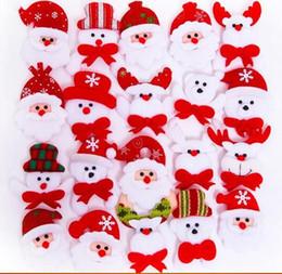 Snowmen broocheS online shopping - Christmas Gift LED Glowing Santa Snowman Deer Bear Glow Flashing Cartoon Brooch Badge Toy Christmas Luminous Decoration