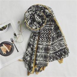 spain scarfs 2019 - 2018 African Geometric Line Tassel Viscose Shawl Scarf Spain Brand Luxury Muffler Headband Echarpe Foulards Snood Muslim