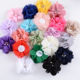 "$enCountryForm.capitalKeyWord Australia - Nishine 2.2"" 20pcs lot Chiffon Fabric Flowers with Pearl Rhinestone for Girl Headband Hair Clips Diy Headwear Hair Accessories"