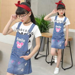 $enCountryForm.capitalKeyWord Australia - Children's wear 2019 summer new girls denim strap skirt children Korean version cartoon strap dress + T-shirt two-piece sets