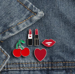 $enCountryForm.capitalKeyWord Australia - Brooches For Women Princess Lipstick Lip Love Heart Cherry Enamel Pin Buttons Mini Badges Cute Jewelry Bag Clothing Accessories