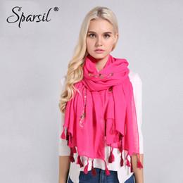 $enCountryForm.capitalKeyWord Australia - Sparsil Women Spring Cotton Linen Embroidery Scarf Tassel Summer Long Oversized Wrap Soft Head Scarves Hijab Summer Beach Shawl