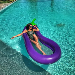 $enCountryForm.capitalKeyWord Australia - Giant Eggplant Inflatable Pool Air Mattress Water Sport Float Lounge Bed Floating Island Beach Swimming Tool Toys For Kids Adult