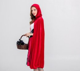 little red riding hood costume NZ - New Arrived Womens Halloween Suits Designer Womens Suits Luxury Little Red Riding Hood Costume for Women Cloaks + Dresses Size S-XL Cosplay
