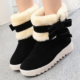 $enCountryForm.capitalKeyWord NZ - Charm2019 Women Bowtie Fur Warm Plush Ankle Snow Boots Ways Shoe Ladies Slip On Platform Female Comfortable Flats