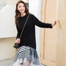 Korean midi dresses online shopping - Korean Fashion Mesh Patchwork Dress  Female O Neck Long Sleeve ba770ce016d1