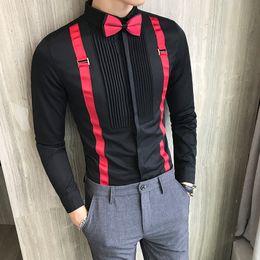 671d1e859 Homens Camisas De Smoking Plissado Frente Bow-tie Falso Strap Manga  Comprida Mens Camisas De Vestido Preto Vermelho Branco Slim Fit Blusa De  Noite De ...