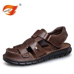 Sale Leather Sandals Canada - Hot sales Summer Men Sandals Genuine Leather Lightweight Breathable Flat Heel Slip resistant Brand High Quality Leisure Walking
