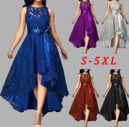 $enCountryForm.capitalKeyWord Australia - 5 Colors Plus Size 5xl Women Lace Party Dress Joineles High Low Irregular Women Dress Round Neck Sleeveless Belts Party Vestidos Y19053001