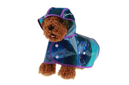 female transparent clothes UK - 10PCS wholesale Pet Rain Poncho Transparent Pet Raincoat Eco-friendly Dog Rain Jacket Dog Rain Clothes Red Blue Color