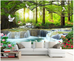 wallpapers trees 2019 - 3d photo wallpaper custom mural on the wall Green big tree forest waterfall background wall home decor living room wallp
