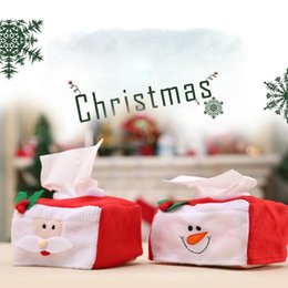 snowman boxes NZ - Merry Christmas Santa Claus tissue box cover Christmas home Table decoration Creative snowman napkin holder For Paper Towel