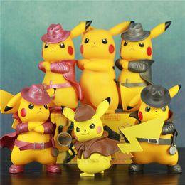Figures Australia - 2019 Movie Detective Pikachu PVC 17cm Figure Go Angry Kawaii Cute Q Statue Doll Model Toys Figura Figurine Kid Gifts Bosslogic Y190530