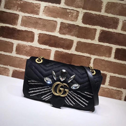 $enCountryForm.capitalKeyWord NZ - Top Quality Design Letter Diamond Heart Handbag V-shaped Velvet Shoulder Bag Women Genuine Leather 443497 Crossbody Bag