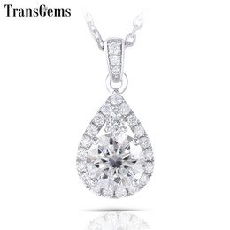 thick necklaces for women Canada - Transgems Thick Platinum Plated Silver Center 6.5mm Gh Color Moissanite Halo Pendant Necklaces With Accents For Women Jewelry Y19061203
