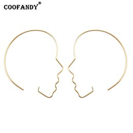 Wholesale Women Fashion Hoop Earrings Hollowed out Face Outline Shape Ear Party Wedding Everyday Rings